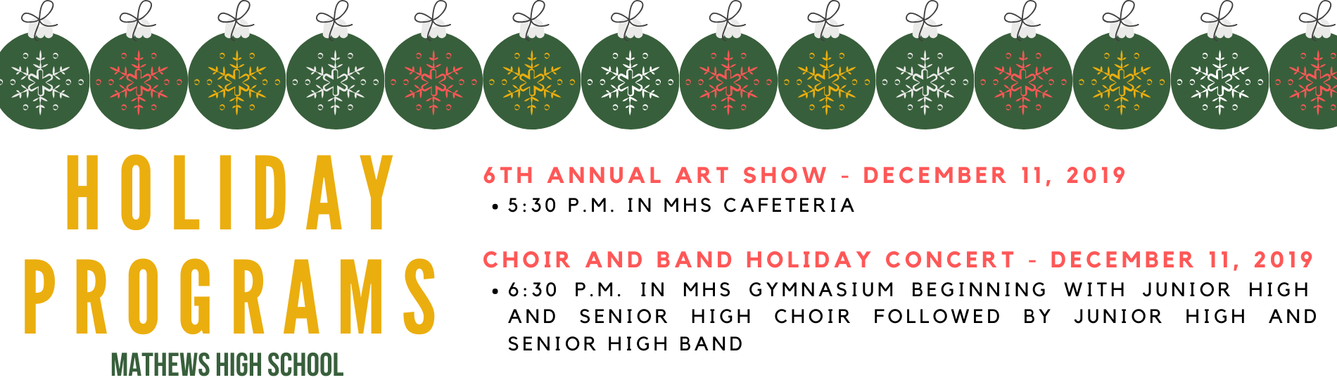 Mathews High Schools holiday concerts
